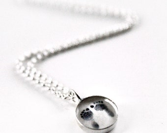 RESERVED for Katie - Two Custom Child's Footprints Pendant Necklaces - Sterling Silver - Mother and Child - Birthstone