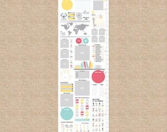 Interactive Growth Chart, Sunshine/Flowers // Scrapbook growth chart // Custom match colors to a nursery, 13x40 canvas // N-C05 AA2