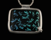 Dragonfly Dichroic Glass & Fine Silver Necklace - .999 Pure Silver PMC Handmade Artisan Jewelry