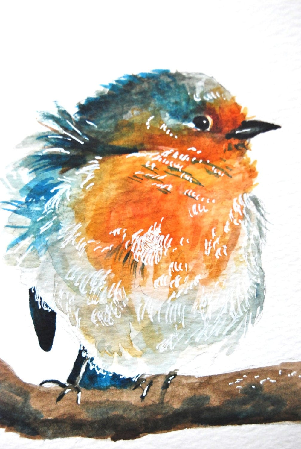 Watercolor painting original blue bird 6x9 for Blue paintings on canvas