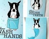 Boston Terrier Bathroom Prints - 5x7 Eco-friendly Set