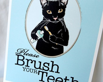 Brush Your Teeth Black Cat - 8x10 Eco-friendly Print