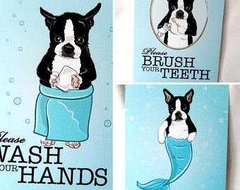 Boston Terrier Bathroom Prints - 5x7 Eco-friendly Set