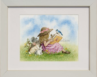 Playtime Reading - archival watercolor print by Tracy Lizotte