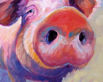 Pig - Pig Art - Pig Print - Paper - Canvas - Wood Block - Giclee Print