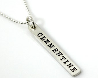 Hand stamped and personalized sterling silver thick tag necklace - American Typewriter font