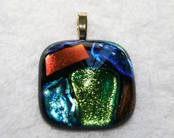 Cremation Jewelry with Ashes Mosaic Glass Fused Pendant Remember your pet or loved one c4 or c6