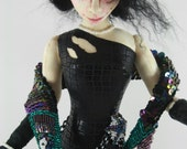 Cloth Art Doll - Fathoms the Deep Sea Mermaid OOAK Artist Made Soft Sculpture with red hair