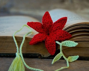 Crochet Flower Bookmark Handmade Red Lily Flower