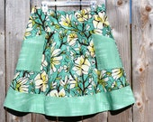 A Line Skirt, apron pockets, painting inspired skirt, Laura Gunn, Magnolia Branch Aqua, and pAiNtErS cAnVaS, custom, Skirt size women's 2-22