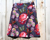 A Line Skirt, fLoWeR, BuTtErfLy, CoLLaGe, cLiPpiNgS, pAsSiOn, LoU LoU tHi,  Anna Maria Horner, Gray, Red, Green, Skirt size women's 2-24