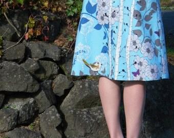 A Little Birdie Told me A-Line Skirt, Floral Bird skirt, Finnelopy in aqua, Novella, Valori Wells, Skirt size women's 2-24