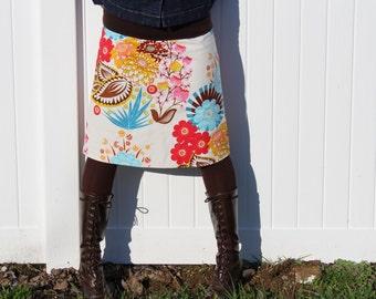 Vintage Inspired A Line skirt, Anna Maria Horner, Summer Totem in Tart, LouLouThi , simple drop waist, skirt size women's 2-24