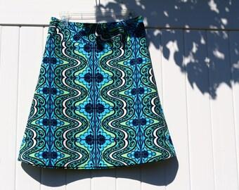 Gypsy Blue A Line Skirt, Amy Butler Lark Dreamer, Gypsy, Cobalt Blue, a line, knee length, skirt size women's 2-24