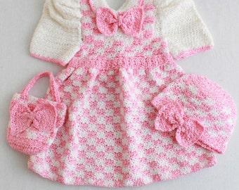 Madeline Pink Check Outfit Crochet Pattern PDF