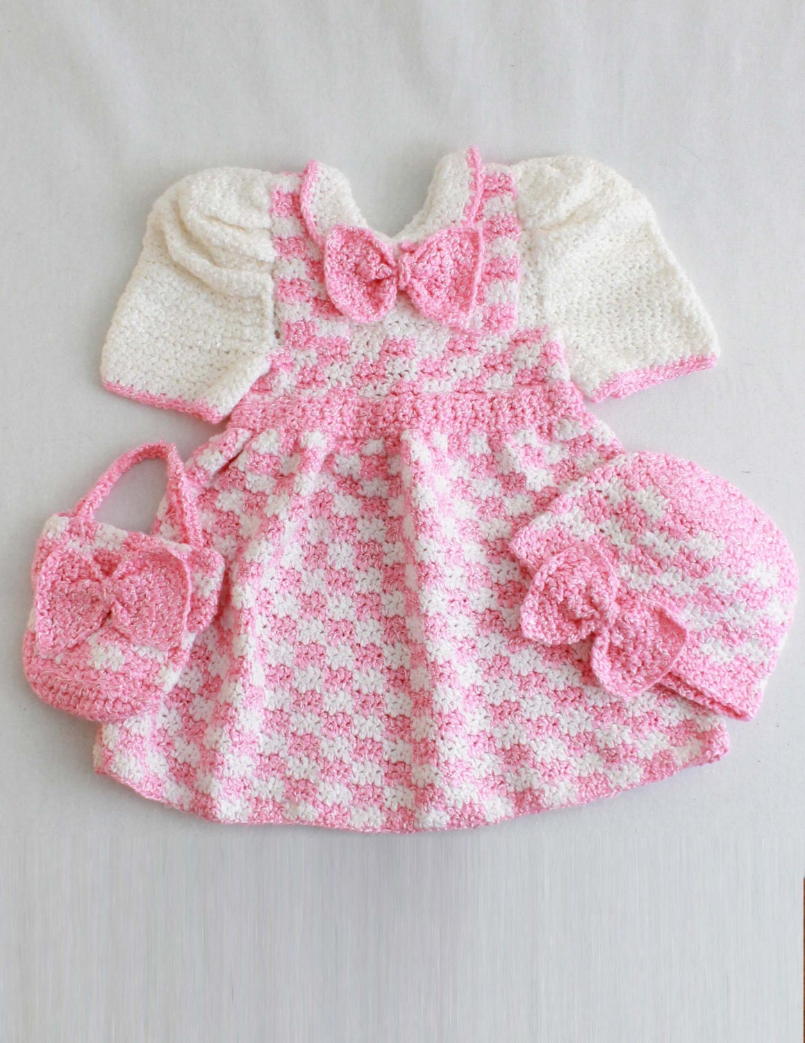 Free Crochet Patterns For Baby Girl Clothes : Madeline Pink Check Outfit Crochet Pattern PDF