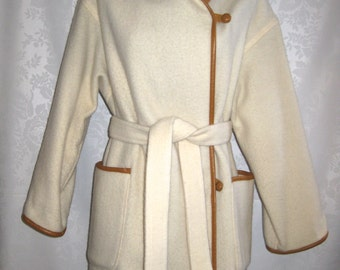 Ivory White Wool Blanket Wrap Coat Leather Trim Size Medium Vintage 80s