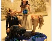 Wedding Cake Topper, Bride on Horse, Groom Mechanic