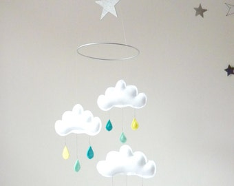 "Rain Cloud Mobile for Nursery ""ARTHUR"" Spring shower-Yellow-Mint-Turquoise by The Butter Flying-Rain Cloud Mobile Nursery Children Decor"