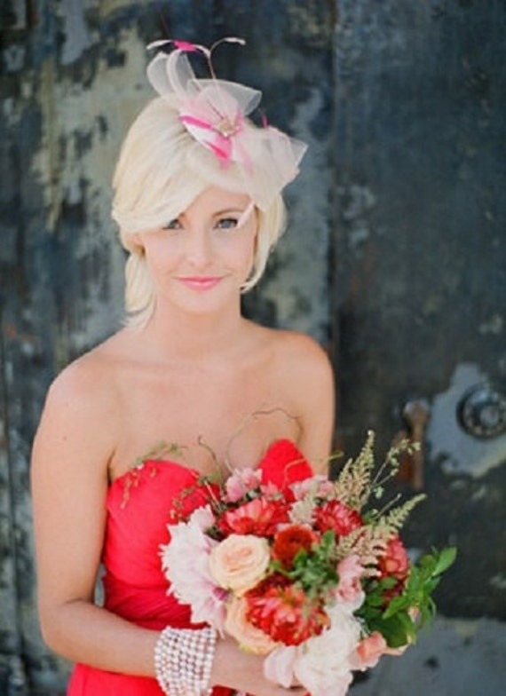 Bridal Mini Hat As Seen in Southern Weddings Magazine, Bridal Fascinator, Wedding Headpiece, Pink Hat, Ready to Ship in 1-3 Business Days