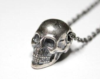Skull Necklace Silver Skull Necklace Human Skull Pendant Necklace Silver Skull Jewelry 081