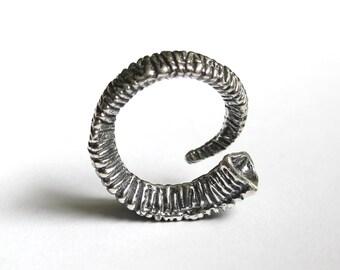 Silver Rams Horn Wrap Ring Trophy Ram Horn Ring 298