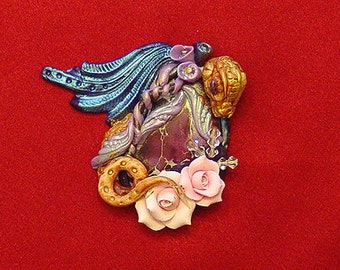 Jasper and Polymer Clay Dragon  Gold, Blue and purple with roses and Swarovski crystal