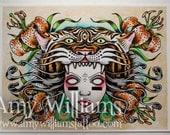 Tigerlily Tattoo Art A3 Print