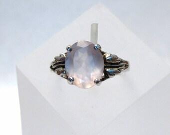 Rose Quartz Ring ~ Faceted Pink Rose Quartz Gemstone ~ Sterling Silver Leaf Ring - Size 8