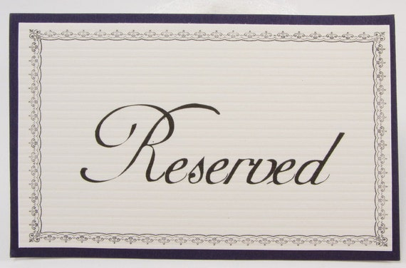 Items Similar To Reserved Seating Signs