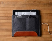 iPad Air Carryall - Charcoal Felt and Brown Leather Patch, Pocket
