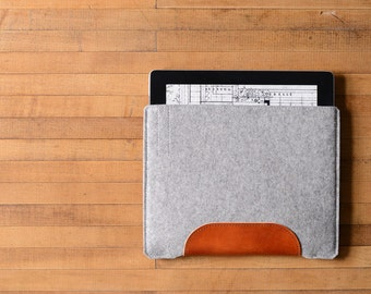 iPad Air Sleeve - Grey Felt and Brown Leather