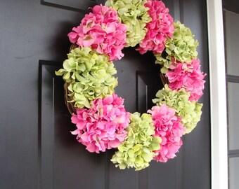 Hydrangea Spring Wreath- Summer Wreaths- Spring Hydrangeas- Custom Hydrangea Wreath- Door Wreath