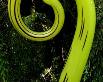 Hand Blown glass Fiddlestick - Lime and black (small)