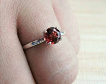 Garnet Ring Sterling Silver Solitaire January Birthstone Made To Order