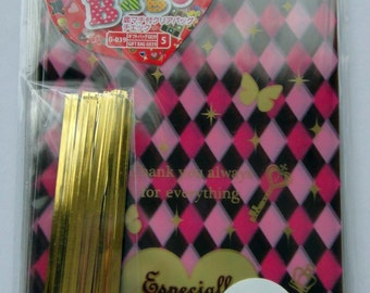 """Cute """"Especially For You"""" Pink & Brown Checked / Stripy Japanese Plastic Cellophane Gift Bags / Party Bags With Keys, Crowns, Butterflies"""