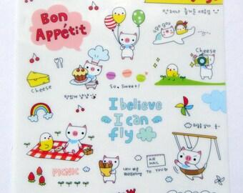 Cute Pig Plastic Stickers From Korea - Eiffel Tower, Airplane, Travel, Bag, Ice Cream, Chick, Cake, Picnic, Hotdog, Umbrella, Bread