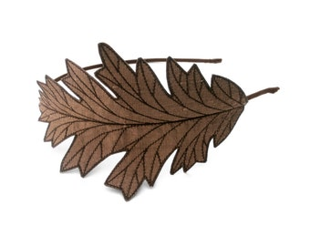 Oak Leaf Headband- Bronze-Brown with Dark Brown Embroidery