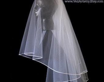 Short Wedding Veil, Radiance Veil,  Waist Veil, Elbow Veil, 2 Tier Bridal Veil, Satin Cord Edge Veil, Made-To-Order Veil, Bespoke Veil