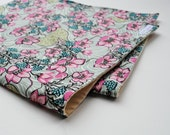 Baby Blanket- Liberty of London Pink Flowers with Organic Flannel - Baby Girls Blanket