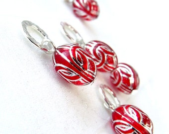 Silver Centurion - Super Heroes Series - Five Handmade Stitch Markers - 6.5 mm (10.5 US) - Limited Edition
