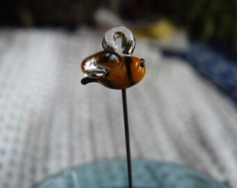 SALE Fairy Garden, small glass bumble bee, bee decoration, fairy garden bee, fairy garden supply, fairy garden accessories