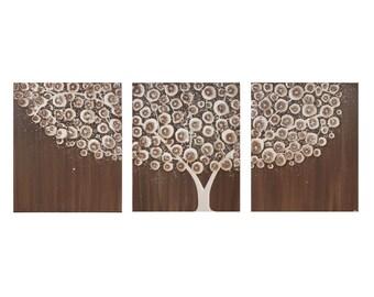 Brown Painting of Tree - Original Acrylic Triptych Art on Canvas - Medium 35x14