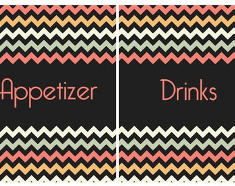 Vintage Chevron Recipe Label Dividers