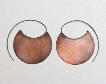 Tribal earrings in copper, large copper hoops