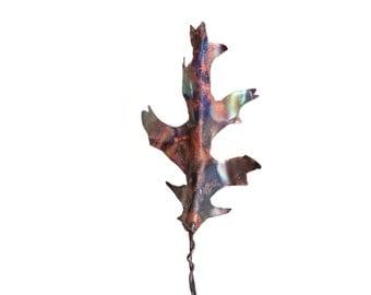 Oak Leaf Sculpture Handmade Copper Metal Unique Home Decor Art Incense Holder Burner Tree Forest Theme Gift - CUSTOM ORDER