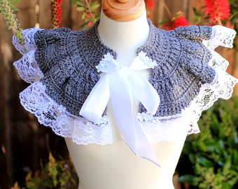 Crochet Capelet in Heather Grey - Victorian Lace Collar - Neo-Victorian