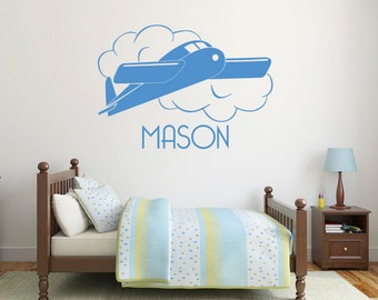 Airplane wall decals, Personalized name wall decals, Airplane decor, Airplane nursery wall decals, Airplane wall art, Name stickers DB236