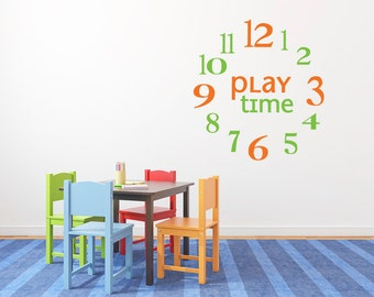 Clock numbers wall decals, Playroom wall decals for kids, Children's wall decal, Wall stickers for kids, Vinyl wall decal, Removable DB175
