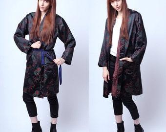 Vintage Black and Red Korean Robe M / L